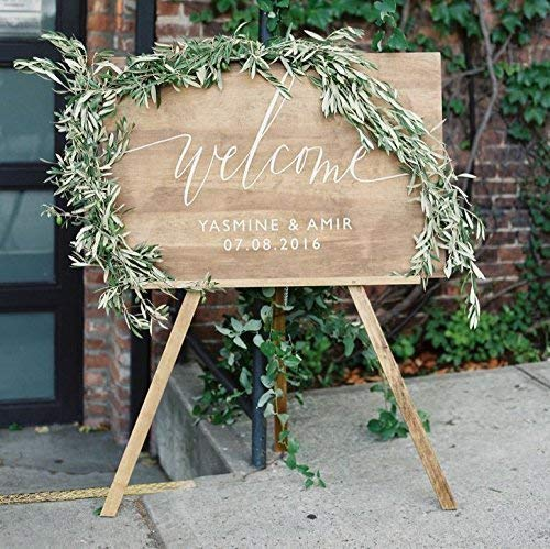 Custom Wooden Welcome Sign for Charming Weddings: Display Date & Couple Name, Personalized Welcome Wedding Sign, Weathered Oak Stain Wood Sign, Wedding & Reception Decorations ()