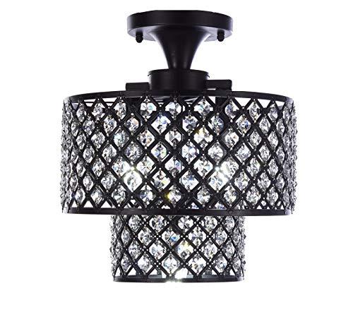 Diamond Life Antique Black Finish 3-Light Semi-Flush Mount Dual Iron Shades Crystal Chandelier ()
