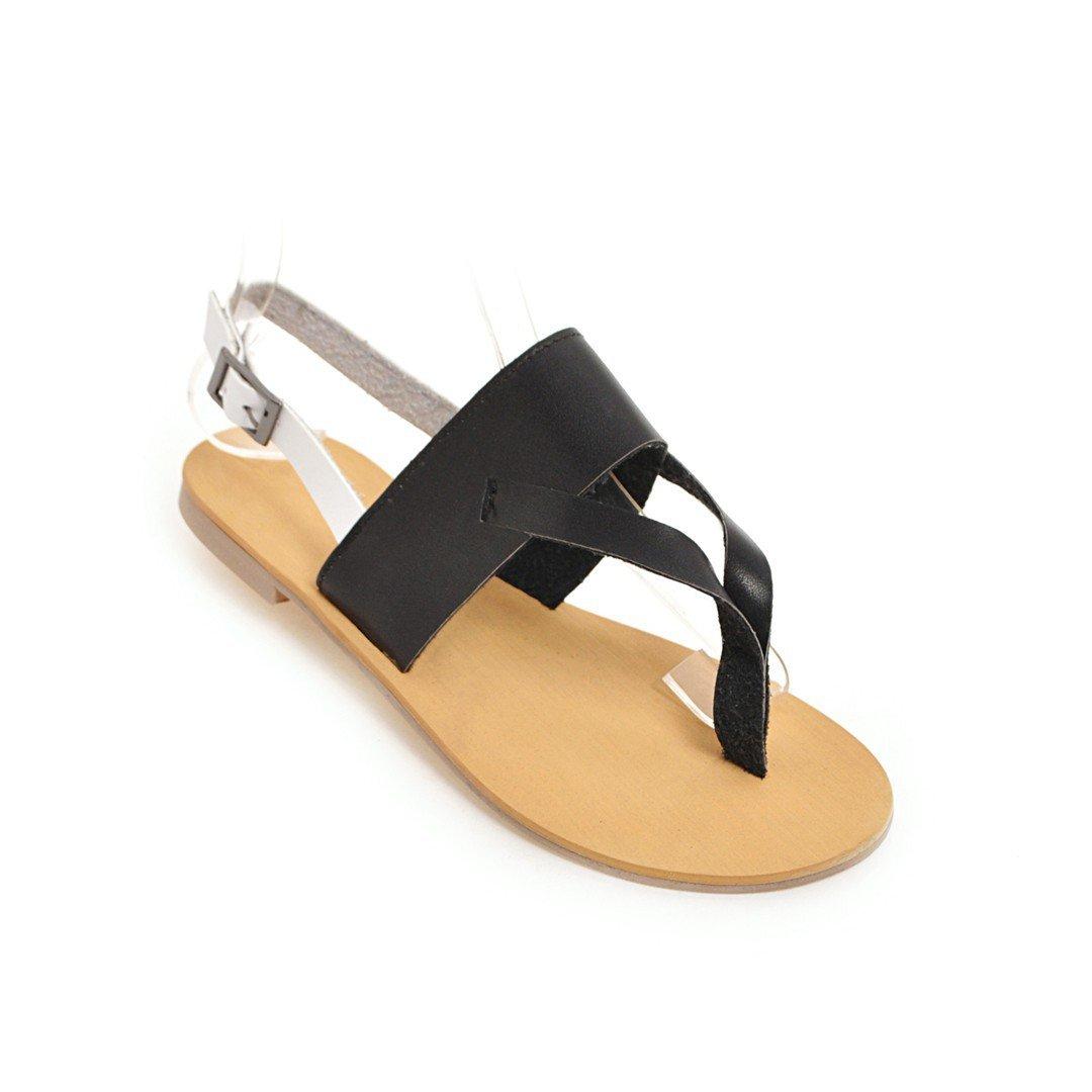 Unbekannt Buckle Damen Sommer Sandalen Toe Clip Flach Groß Belt Buckle Unbekannt Schuhe Schwarz 44 bdabc7