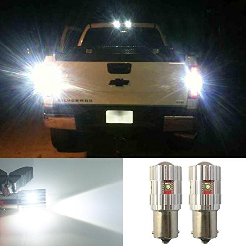 Partsam 2pcs White High Power 25W Cree LED Canbus Ba15s 1156 P21W for Backup Reverse lights Canbus Xenon White Cree LED 50W IN TOTAL