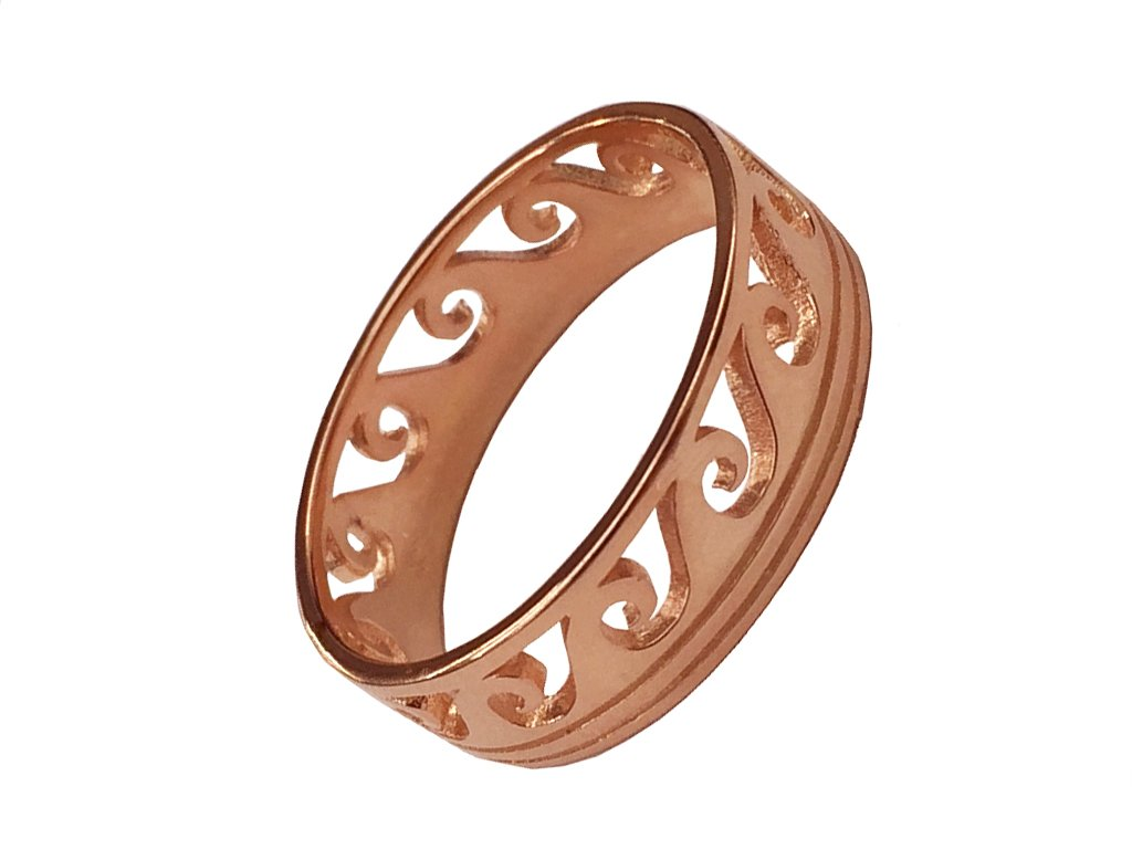CloseoutWarehouse Sterling Silver Rose Gold-Tone Plated Maori Ocean Wave Ring Size 6