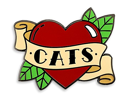 Pinsanity Love Heart Cat Tattoo Enamel Lapel Pin ()
