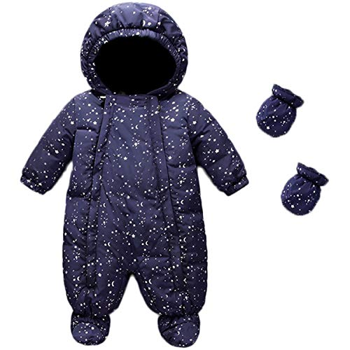 JELEUON Baby Girls and Boys One Piece Winter Warm Hooded Zipper Puffer Down Jacket with Snow Ski Bib Pants Outfits with Gloves 3-6 Months (Kids Piece One 4t Snowsuit)