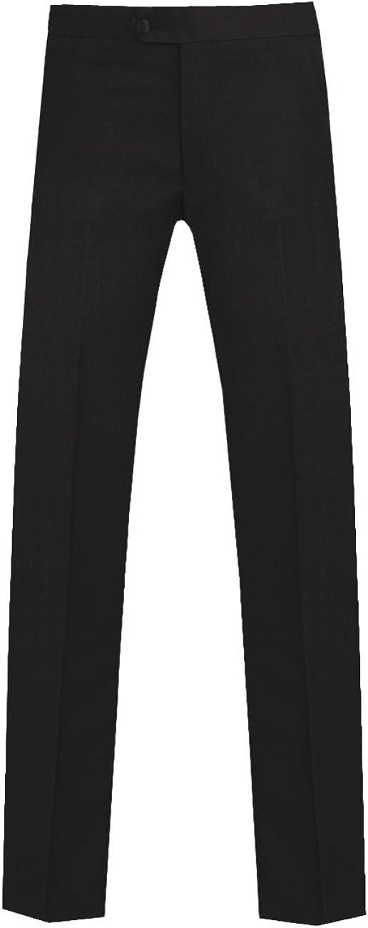 Dobell Mens Twilight Blue Tuxedo Trousers Regular Fit Satin Side Stripe