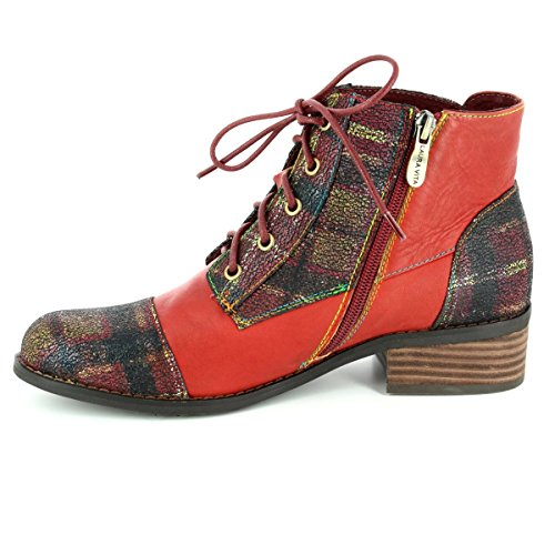 Laura Vita Womens Alice 16 Lace Up Heeled Ankle Boots Rouge 5jVAu