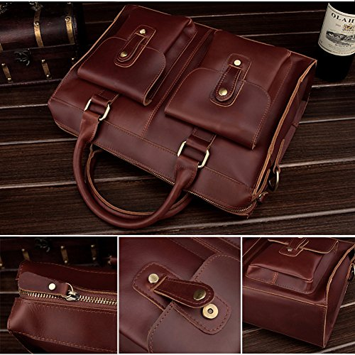 67d1dcd72791 AYOUYA Genuine Leather Canvas Messenger Bag for Men and Women 14 ...