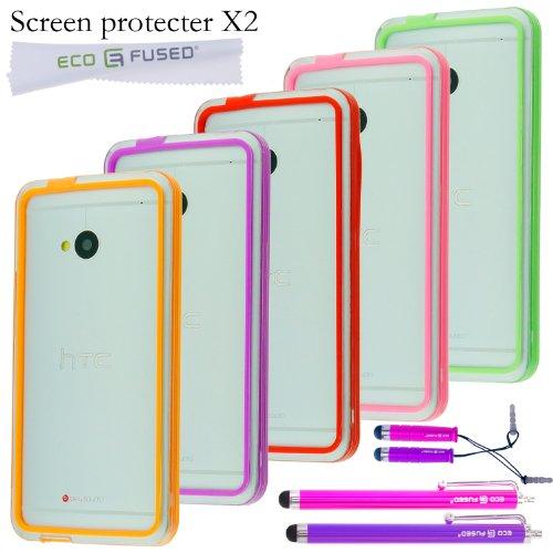 ECO-FUSED-Premium-Slim-Hybrid-Bumper-Case-Cover-Bundle-for-HTC-One-M7-Five-Colorful-Bumper-Cases-Red-Pink-Orange-Green-Purple-Four-Stylus-Pens-Hot-Pink-Purple-2-Screen-Protectors-Free-ECO-FUSED-Microf