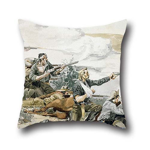 Throw Pillow Case 20 X 20 Inches / 50 By 50 Cm(both Sides) Nice Choice For Her,teens,drawing Room,bar,kids Girls,kitchen Oil Painting Frederic Remington - Battle Of Beecher's Island