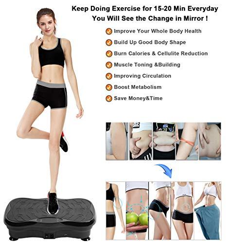 Vibration Platform Exercise Machine,Vibration Plates Fitness Massage Machine,Whole Body Vibration Shaking Machine,Vibration Trainer for Weight Loss& Body Workout,Max Weight Capacity 300lbs. (Black) by eHUPOO (Image #5)