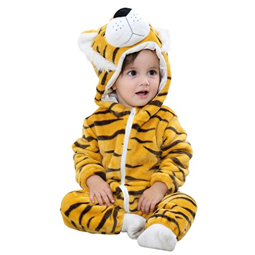 MICHLEY Unisex Baby Winter Hooded Romper Flannel Panda Style Cosplay Clothes ,80cm-(6-12months),Tiger