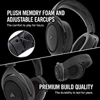 CORSAIR HS70 Wireless Gaming Headset - 7 1 Surround Sound Headphones for PC  - Discord Certified - 50mm Drivers – Carbon