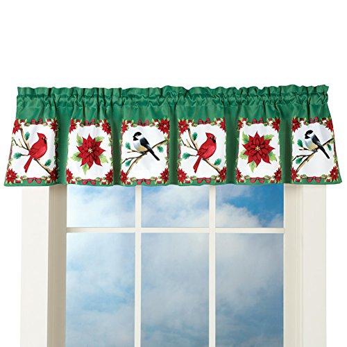 UPC 191121000519, Festive Holiday Birds and Poinsettia Valance, Christmas, Holiday, Traditional
