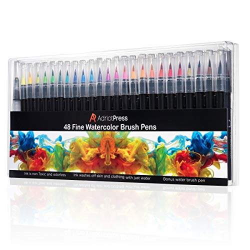 AdriotPress Watercolor Brush Tip Pens, 48 Washable Paint Color Markers - Create Your Masterpiece with Vibrant, Bold Colors - Portable Palette and Tones for Drawing, Painting, Coloring, and Calligraphy. Non-Toxic -