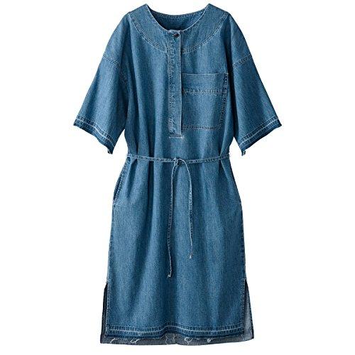 Stone Mit Lightdenim Bindeband Redoute Double Knopfverschluss Kleid Collections Frau La TZwzqZ