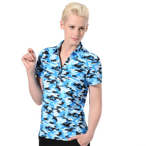 Monterey Club Ladies' Dry Swing Mili Print Jersey Shirt #2599 (Peacock Blue/Black, Medium)