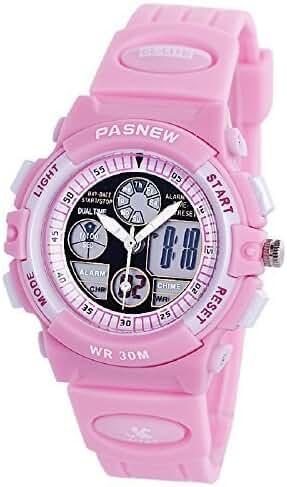 PASNEW Boys Girls Waterproof Sport Digital Watch Dual Time Display - Pink