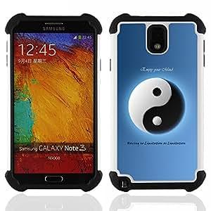 Dragon Case- Dise?¡Ào de doble capa pata de cabra Tuff Impacto Armor h??brido de goma suave de silicona cubierta d FOR Samsung Galaxy Note3 N9000 N9008V N9009- OPPOSING PHILOSOPHY YIN WHITE BLUE YANG
