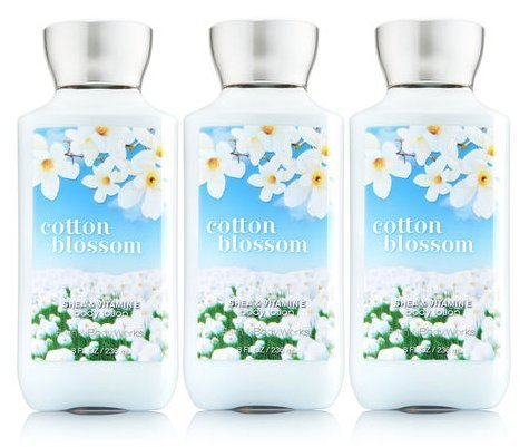 - Lot of 3 Bath & Body Works Signature Collection Cotton Blossom Body Lotion with Aloe and Vitamin E 8 Oz Each (Cotton Blossom)