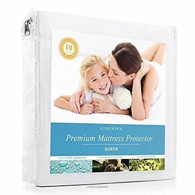 LINENSPA Premium Mattress Protector - 100% Waterproof - Hypoallergenic - 10 Year Warranty - Vinyl Free - Queen / White