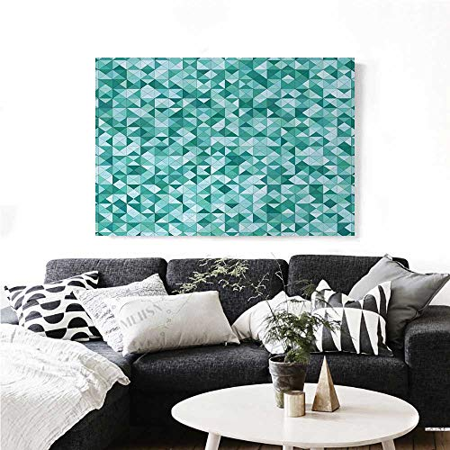 (Teal Canvas Wall Art Triangle Mosaic with Polygon Shapes Decorative Lights Shadows Effect Illustration Print Paintings for Home Wall Office Decor 24