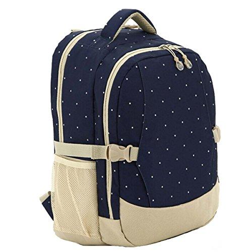 Multifunción de gran capacidad mamá bolsa pañal pañales bebé mochila Green Flowers Pattern azul oscuro