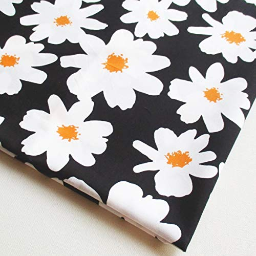 White Daisy Flower Yellow in The Garden Cotton Floral on Black Fabric 36 by 36-Inch Wide (1 Yard) (CT800) ()