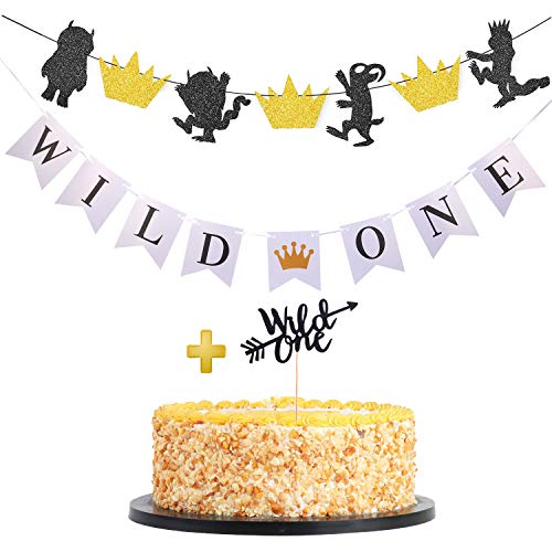 Weimaro Where the Wild Things Are Inspired Party Supplies & Wild One Banner with Cake Toppers Decorations for 1st Birthday Party Table/Backdrop/Photo Prop -
