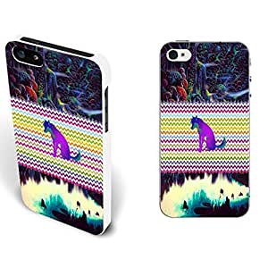 Blue Galaxy Universe Space Pattern & Wolf Hybrid Hard Back Plastic Case Cover for Iphone 5 5s Cell Phone (colorful chevron whited1141)