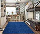 """Ottomanson Collection Solid Shag Rug, 5'3"""" x 7', Navy"""