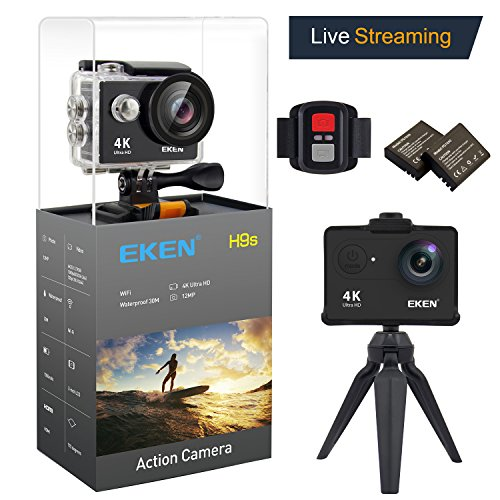 EKEN H9s Action Camera Live Streaming 4K WiFi Ultra HD Waterproof Sports Camera 2 Inch LCD Screen with 2 Rechargeable 1050mAh Batteries and Charging Dock Free Bicycle Handlebar including 11 PCS Mounts EKEN