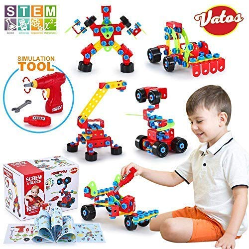 VATOS Building Blocks Toy for Kids, STEM Toys 550 Piece Building Blocks & Screw Toy for 5, 6, 7, 8+ Year Old Educational Birthday & Christmas Toy for Boys & -