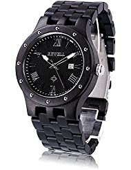 Bewell W109A Mens Wood Watches Two Tone Quartz Luminous Wristwatch with Date Display (Great Gift) (Ebony Sandalwood)