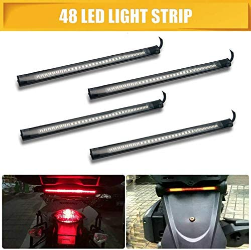 Maso Striscia Flessibile Universale a 48 LED per Moto indicatori di direzione Freni luci Rosse e Gialle luci Posteriori