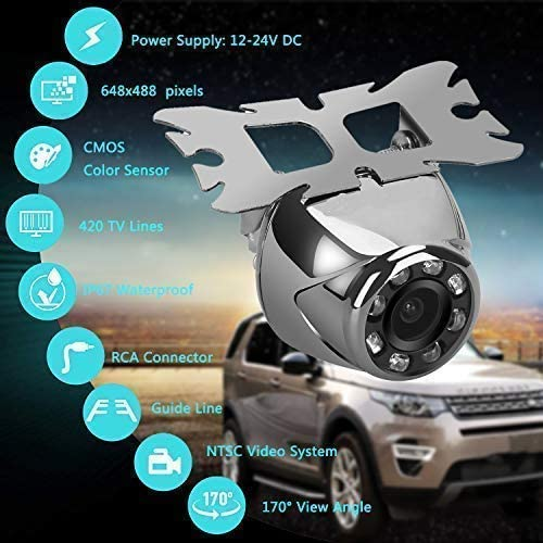 Backup Camera, Waterproof 170 View Angle Rear View Camera for Car Parking