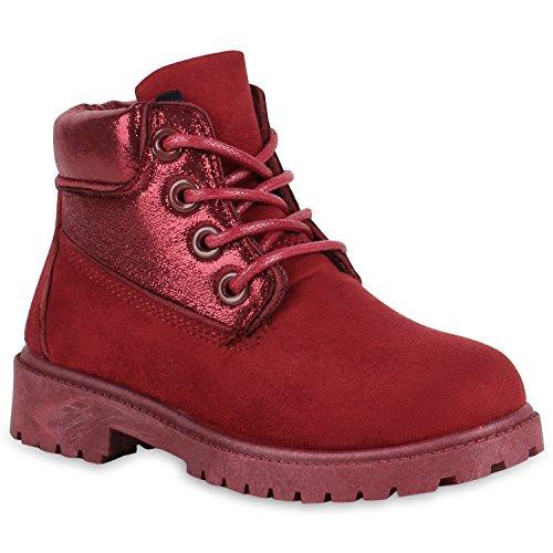 Stiefelparadies Kinder Stiefeletten Glitzer Worker Boots Outdoor Schuhe Bequem Flandell Dunkelrot Amares