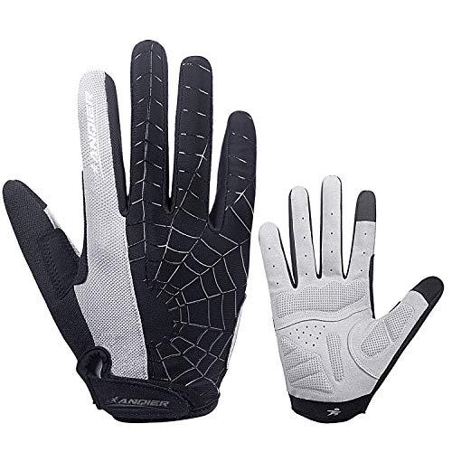 (Lanyi Cycling Gloves Bike Gloves Mens Womens Touch Screen Full Finger Shock-Absorbing Pad Anti-Slip Biking Gloves Mountain Climbing Bicycle Gloves (Grey,L))