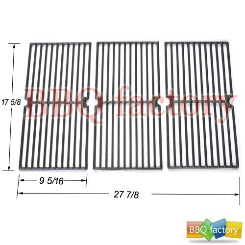 bbq factory JGX233 Porcelain Cast Iron Cooking Grid Grate Replacement for Select Brinkmann, Grill King Gas Grill Models, Set of 3