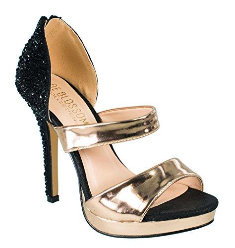 Collezione De Blossom Marna-93 Strass Abbellito Tacco Alto Peep-toe Prom Party Dress Scarpe Marna-93 Nero