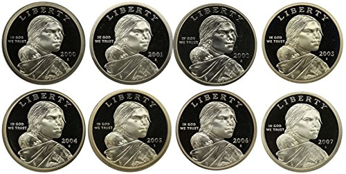 2000-2007 S Sacagawea Native American Dollars Gem Proof Run 8 Coins US Mint Decade Lot Complete 2000's Set