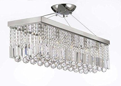 10 Light 40 Contemporary Crystal Chandelier Rectangular Chandeliers Lighting – Silver