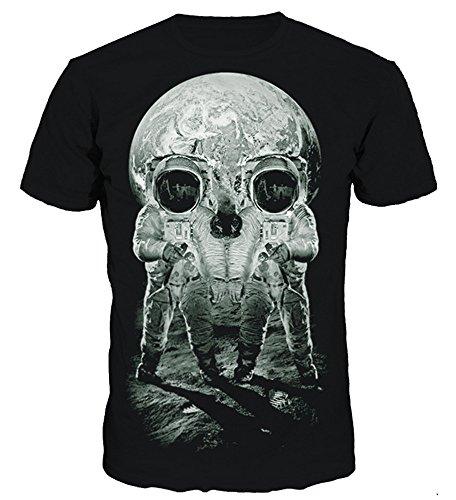 NAYINLAN Unisex 3D Creative Digital Printed Short Sleeve Top T-Shirts Tees,Space Skull,Small/Medium ()