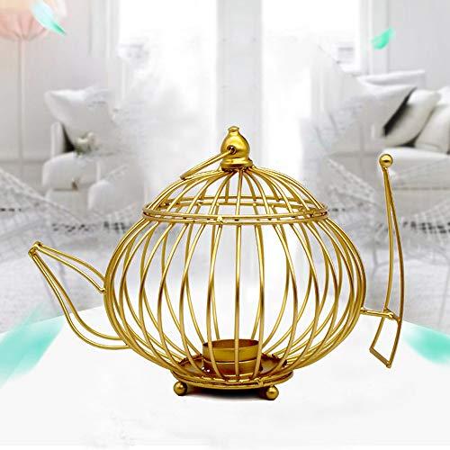 Maikouhai Metal Iron Wire Teapot-Shaped Hollow Design Candlestick Dedication Candle Holder Decoration Tea Light, Gold -