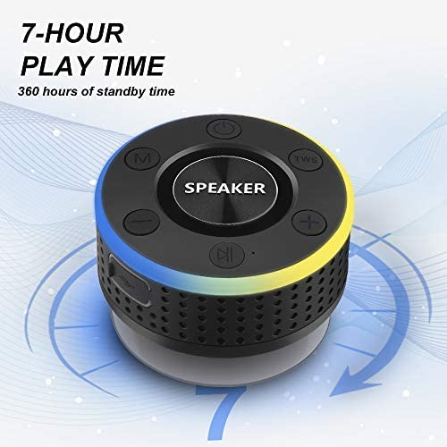 Bluetooth Shower Speaker, iporachx Portable Speaker with Subwoofer, IPX7 Waterproof TWS Wireless Speaker, Mini Speaker Bass with Suction Cups for Beaches, Swimming, Pool Parties, Hiking, Camping