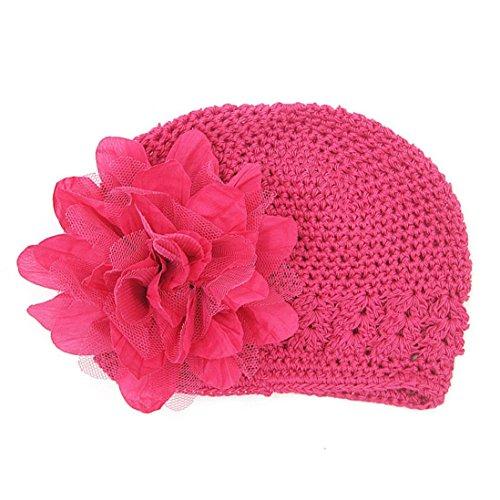 TLOOWY Toddler Infant Baby Girl Cute Big Chiffon Flower Knitted Hat Headwear Crochet Beanie Cap (Hot Pink)]()