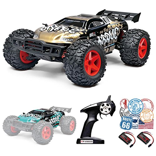 ROCKAR RC Cars RC Trucks, 1/12 Scale 4x4 Fast Electric RC Drift Cars 30MPH+ 2.4Ghz Radio Remote Control Desert Buggy Off Road with LED Light Vision (Gold)