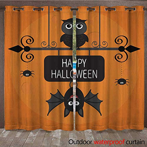RenteriaDecor 0utdoor Curtains for Patio Waterproof Happy Halloween