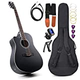 Vangoa Left Handed Acoustic Electric Cutaway Guitar 41 Inch Full size Beginner kit with Connecting Cable Bag Strap Tuner Extra String Picks Capo(Left-handed)
