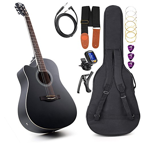 Vangoa – 41″ Full-Size Black Acoustic Electric Cutaway Left- handed Guitar with Guitar Gig Bag, Strap, Tuner, String, Picks, Capo(Left-handed)