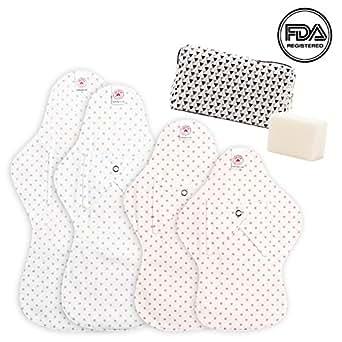 Hesta Organic Cotton Reusable Cloth Menstrual Pads Starter Value Kits (4Pads+Pouch+Soap)