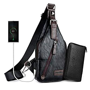 Alena Culian Sling Backpack Men Leather Chest Bag Crossbody Shoulder Bag For Men(black) 28